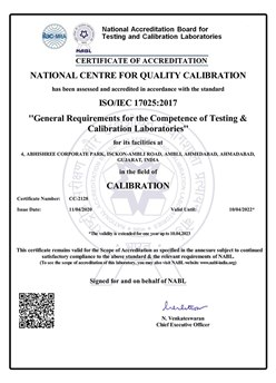 NABL Certificate - NCQC Calibration Laboratory